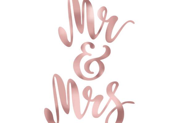 Mr and Mrs. Brush pen lettering. Wedding words. Bride and groom. Rose Gold foil effect. Vector illustration.