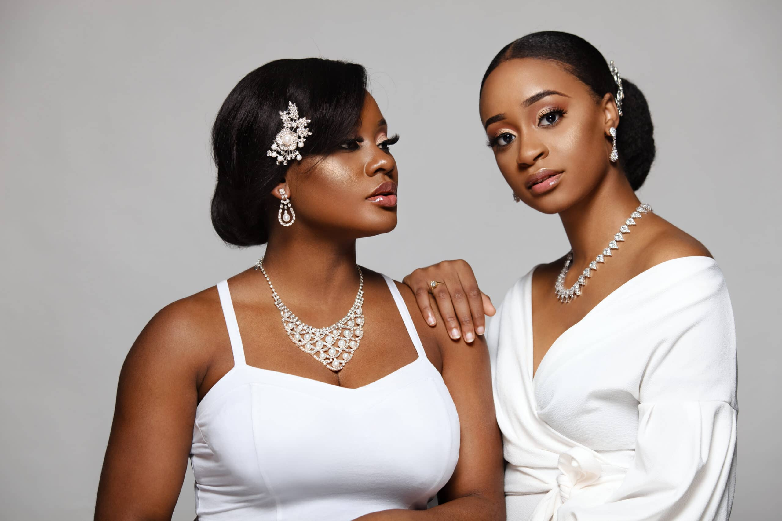 Two gorgeous Black bride with beautiful jewelry